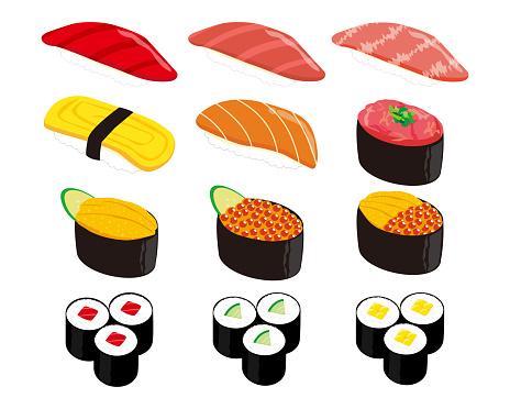 Vector illustration of seaweed roll .  Thick Sushi Roll . Vector illustration of salmon roe and sea urchin nigiri sushi.