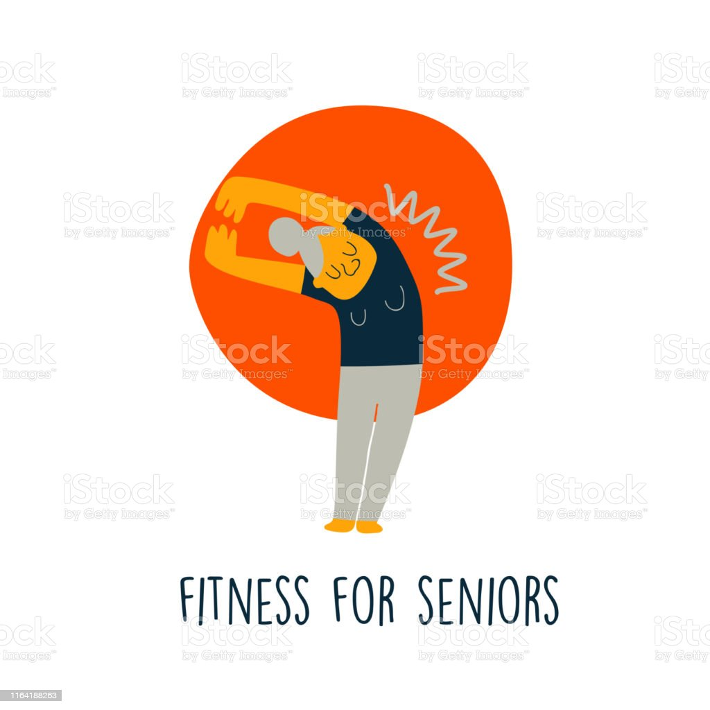 Vector Illustration Of Senior Lady Doing Stretching Exercise Cartoon Character Senior Fitnes Concept Stock Illustration Download Image Now Istock