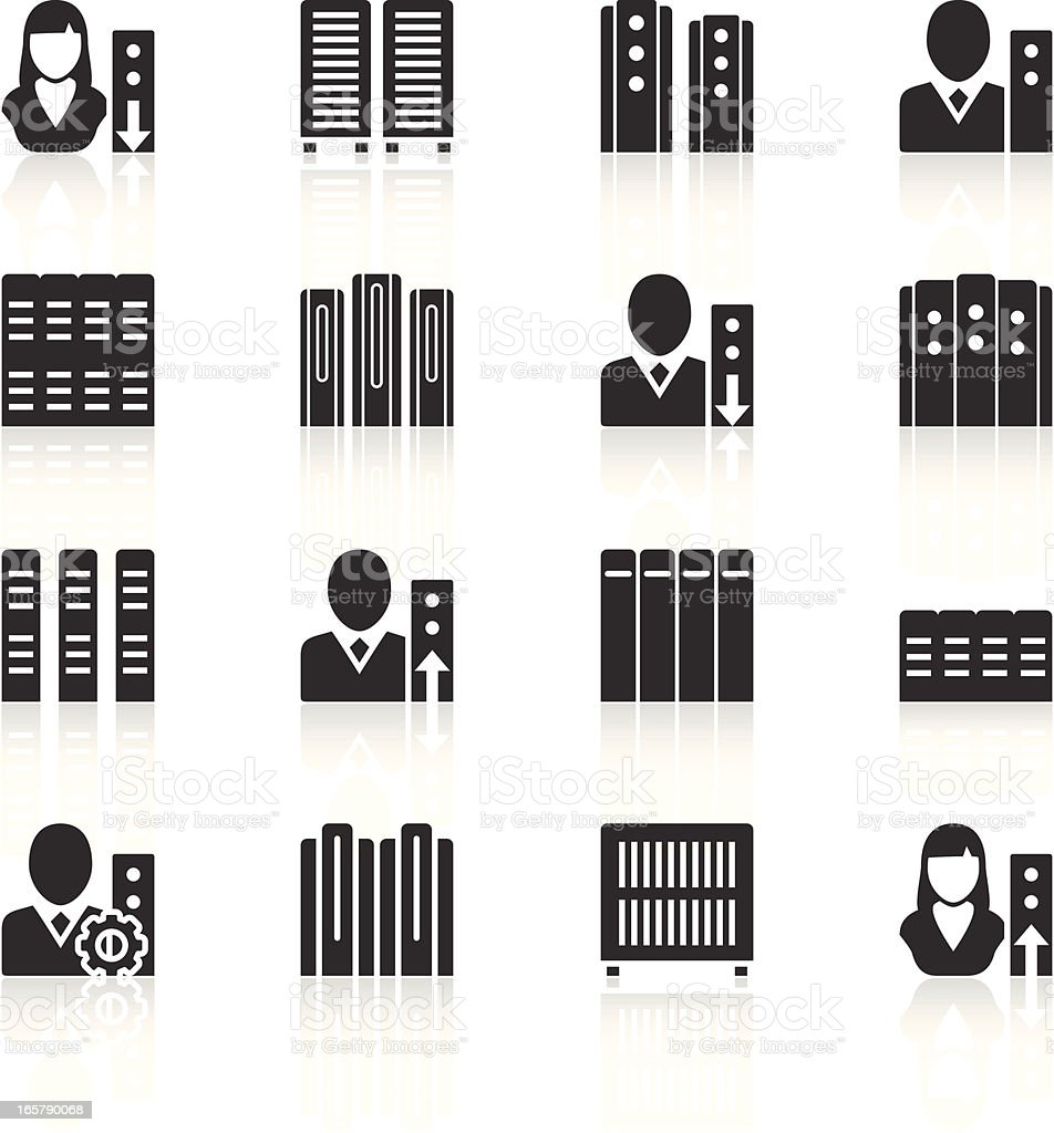 Vector illustration of server, woman and man icons, in black vector art illustration
