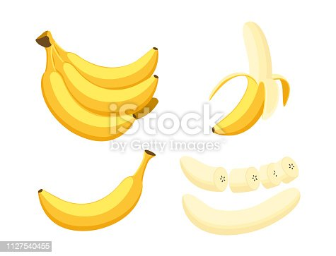 Vector illustration of set fresh banana isolated on white background