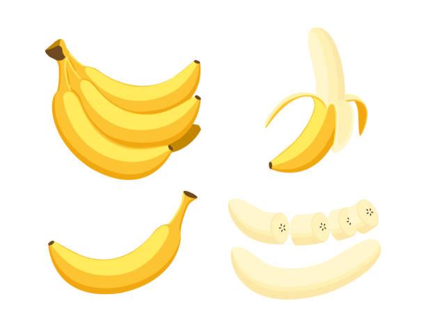 Vector illustration of set fresh banana isolated on white background Vector illustration of set fresh banana isolated on white background banana stock illustrations