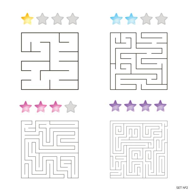 vektor-illustration der set 4 quadratische labyrinthe für kinder - labyrinthgarten stock-grafiken, -clipart, -cartoons und -symbole