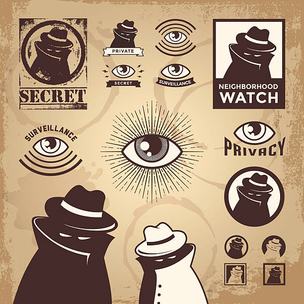 Vector illustration of set of crime related icons  detective stock illustrations