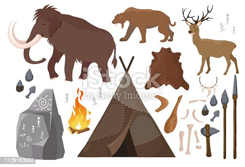 Vector illustration of set of elements of stone age people life. Primitive man lifestyle, anicent animals. Ice age. primitive Collection of weapon. Mammoth, saber-toothed tiger and deer, tent made with animal skins. Evolution concept in flat design