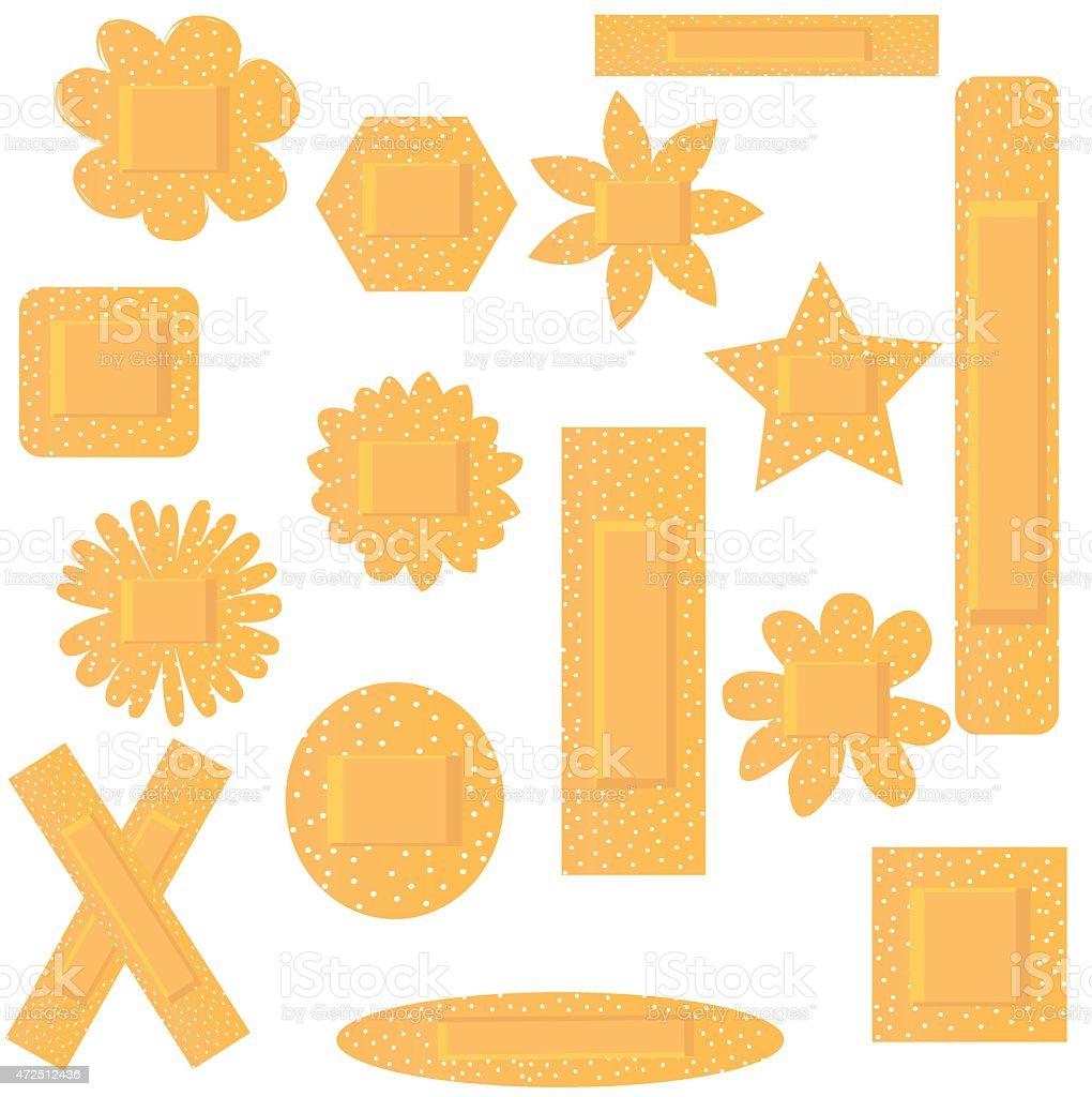 Vector illustration of set of flowers beige plasters vector art illustration