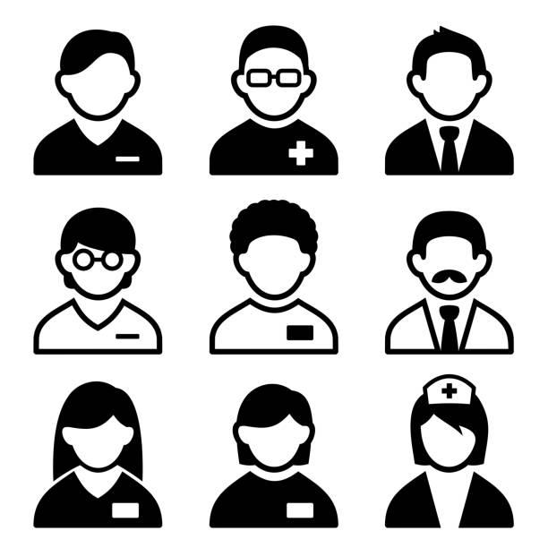bildbanksillustrationer, clip art samt tecknat material och ikoner med vector illustration of set of nine doctor icons - allmänläkare