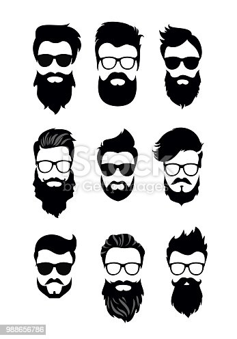 Vector illustration of set of vector bearded men faces, hipsters with different haircuts, mustaches, beards. Silhouettes men haircuts flat style