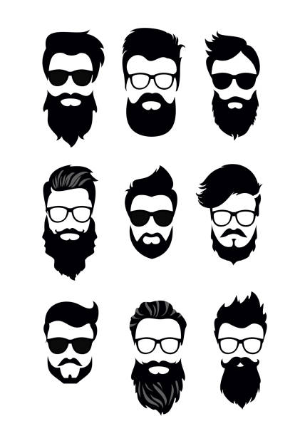 Vector illustration of set of vector bearded men faces, hipsters with different haircuts, mustaches, beards. Silhouettes men haircuts flat style. vector art illustration