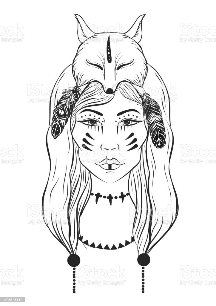vector illustration of shaman girl with fox headdress and
