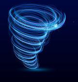 Vector illustration of shining illuminated whirlwind, swirl, glowing tornado vector effect. Typhoon whirlwind, light hurricane on dark blue background.