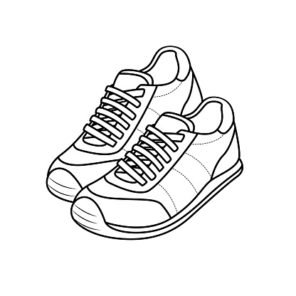 Vector illustration of shoes isolated on white background for kids coloring book.