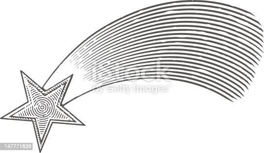 istock Vector illustration of shooting star in engraved style 147771839