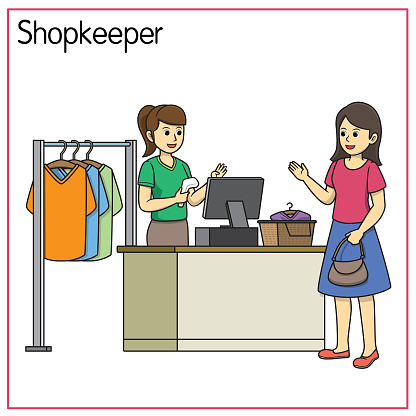 Vector illustration of shopkeeper isolated on white background. Jobs and occupations concept. Cartoon characters. Education and school kids coloring page, printable, activity, worksheet, flashcard.