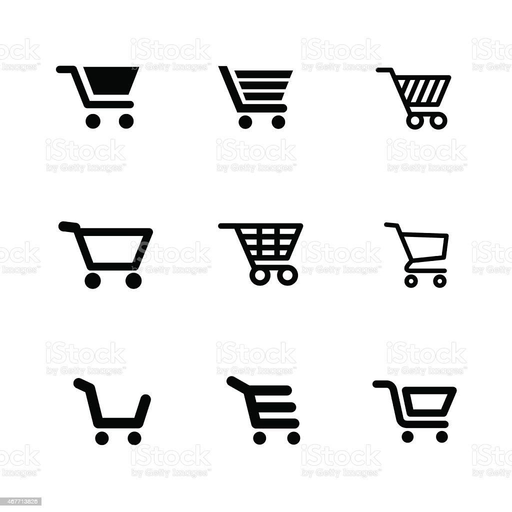 Vector illustration of shopping cart icons vector art illustration