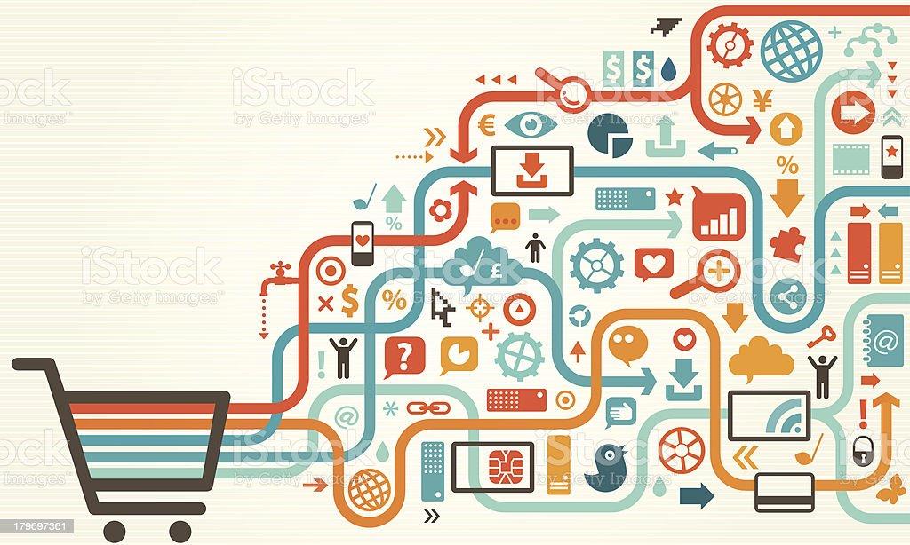 Vektor-illustration von Einkaufswagen und Symbole – Vektorgrafik
