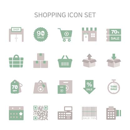 """Vector illustration of shopping icons for online shopping, sale, buy, shopping bag, shopping cart, store, supermarket, discount, coupon, Input, delete, calendar, Qr Code, bar code, calculator, cashier."""