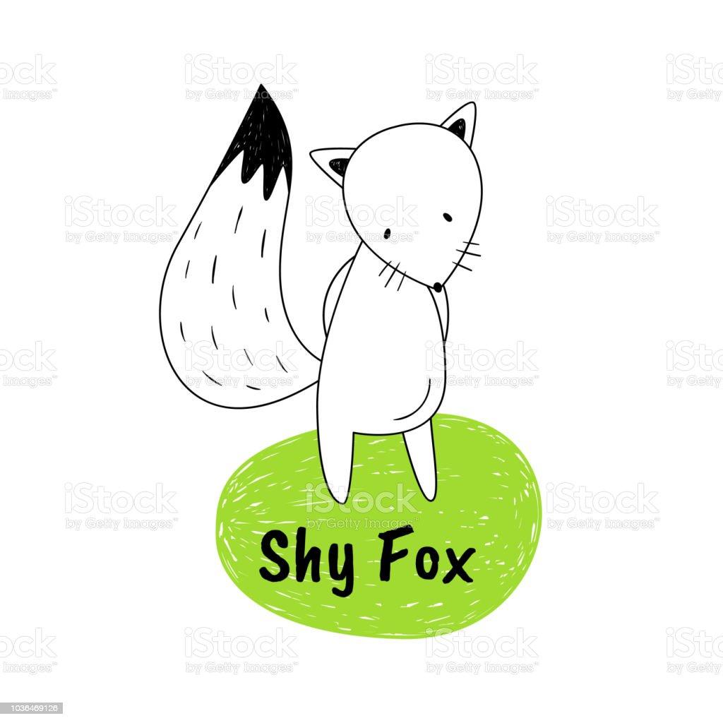 Vektorillustration Von Schuchtern Fox Die Cartoonstil Zeichnen Von