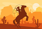 Vector illustration of silhouette of cowboy catching wild horse at sunset with beautiful Wild west Texas desert on background in flat style