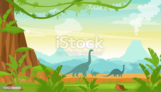 Vector illustration of silhouette of dinosaurs on the Jurassic period landscape with mountains, volcano and tropical plants in flat cartoon style