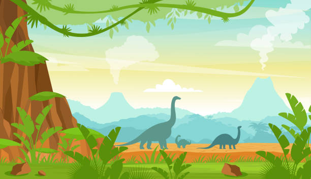 Vector illustration of silhouette of dinosaurs on the Jurassic period landscape with mountains, volcano and tropical plants in flat cartoon style. Vector illustration of silhouette of dinosaurs on the Jurassic period landscape with mountains, volcano and tropical plants in flat cartoon style ancient stock illustrations