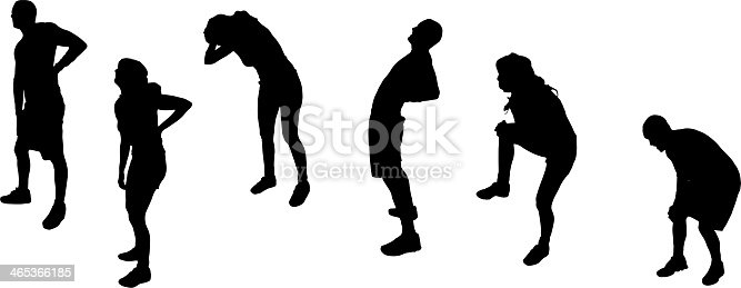 istock Vector illustration of silhouettes of athletes stretching 465366185