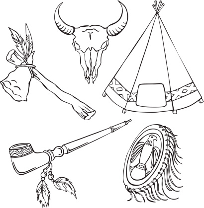 vector illustration of silhouettes of various elements of Indian