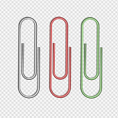 Vector illustration of silver, red and green paper clips attached to piece of paper on transparent background.