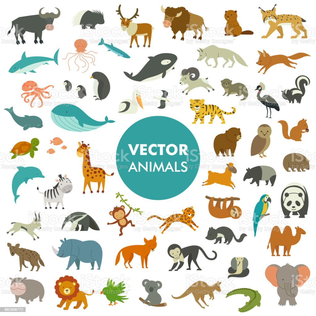 Vector Illustration of Simple Cartoon Animal Icons. векторная иллюстрация