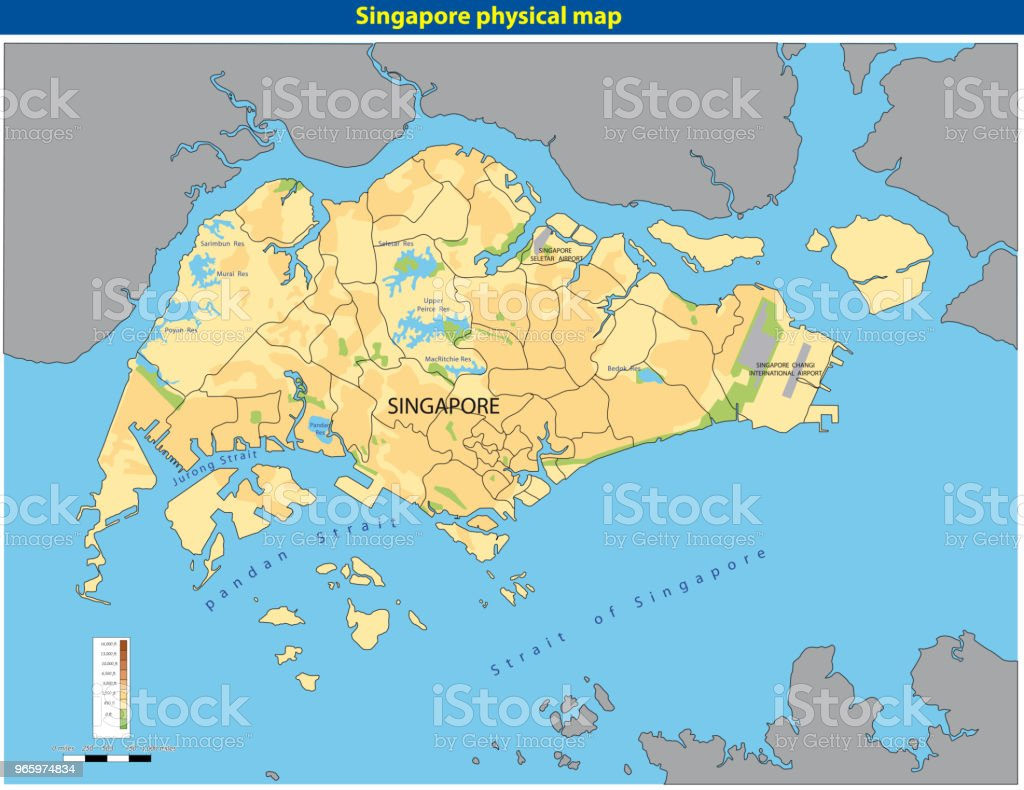 Vector illustration of  SingaporePhysicalMap - Royalty-free Abstract stock vector
