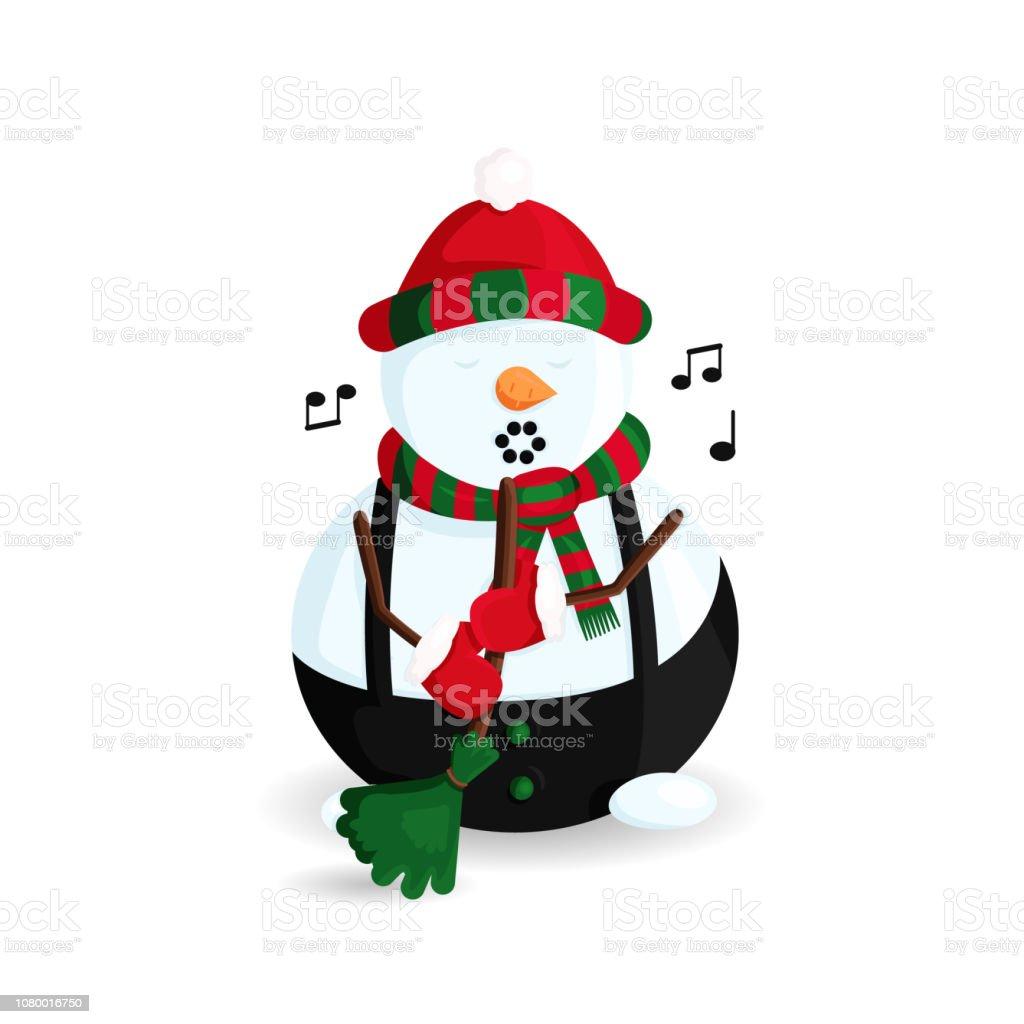 Ilustración de vector de muñeco de nieve cantando en sombrero de rayas y bufanda con escoba - ilustración de arte vectorial