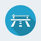 Vector illustration of single isolated road barrier icon