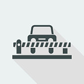 Vector illustration of single road bar and car icon