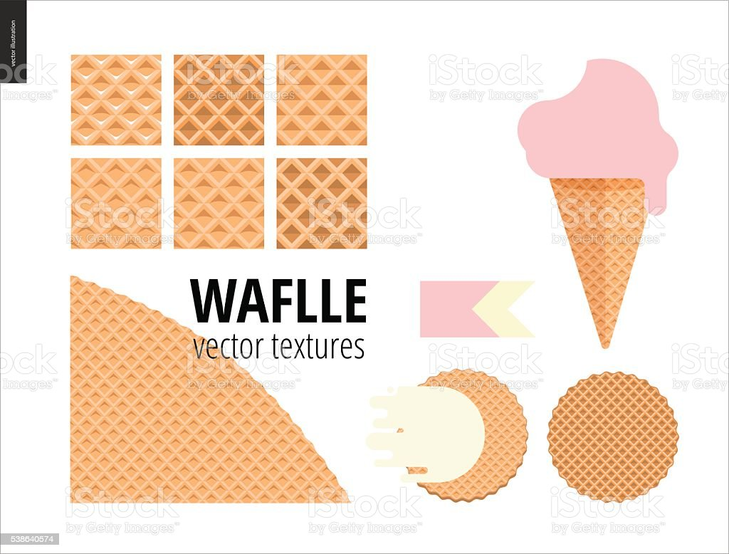Vector illustration of six seamless waffle patterns vector art illustration