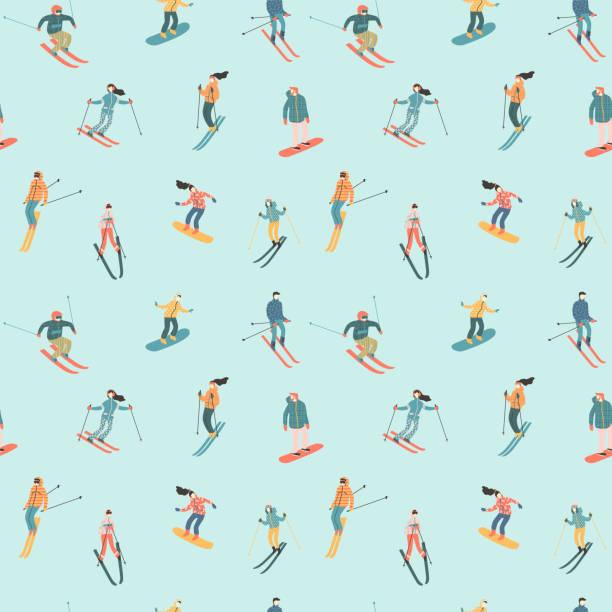 illustrazioni stock, clip art, cartoni animati e icone di tendenza di illustrazione vettoriale di sciatori e snowboarder. modello senza soluzione di continuità. - sci