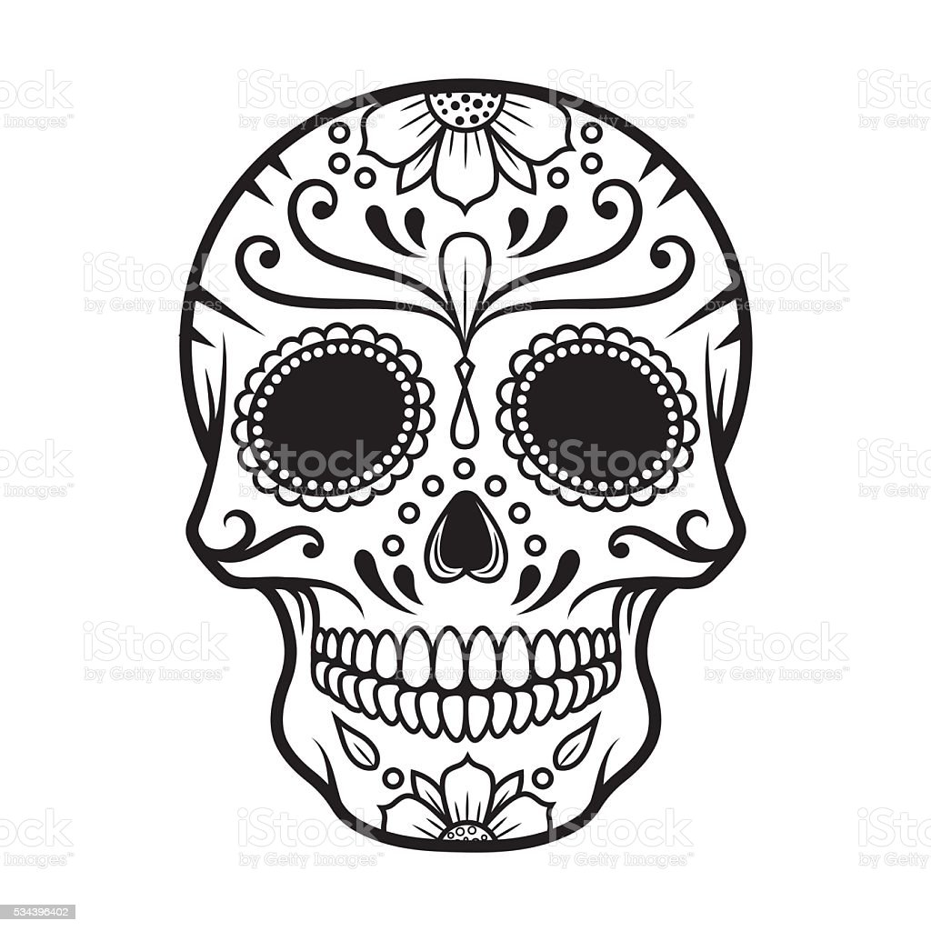 Vector illustration of Skull the Day of the Death vector art illustration