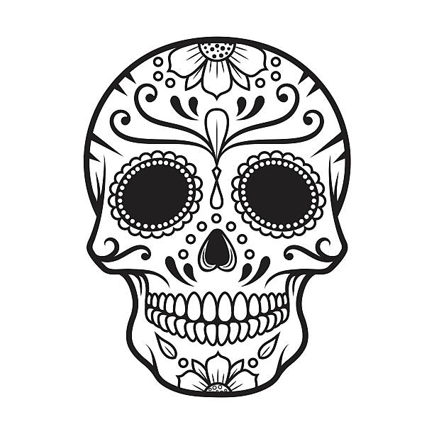 vector illustration of skull the day of the death - diamond tattoos stock illustrations, clip art, cartoons, & icons