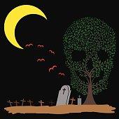 Vector  illustration of  Skull  tree moon graves