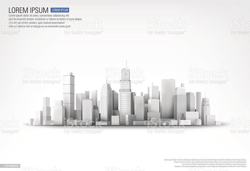 Vector illustration of skyscrappers vector art illustration