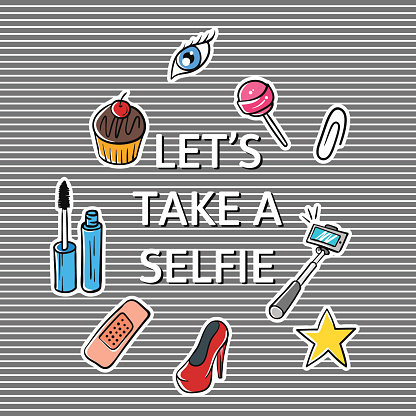 """Vector illustration of slogan """"Let's take a selfie"""" with fashion"""