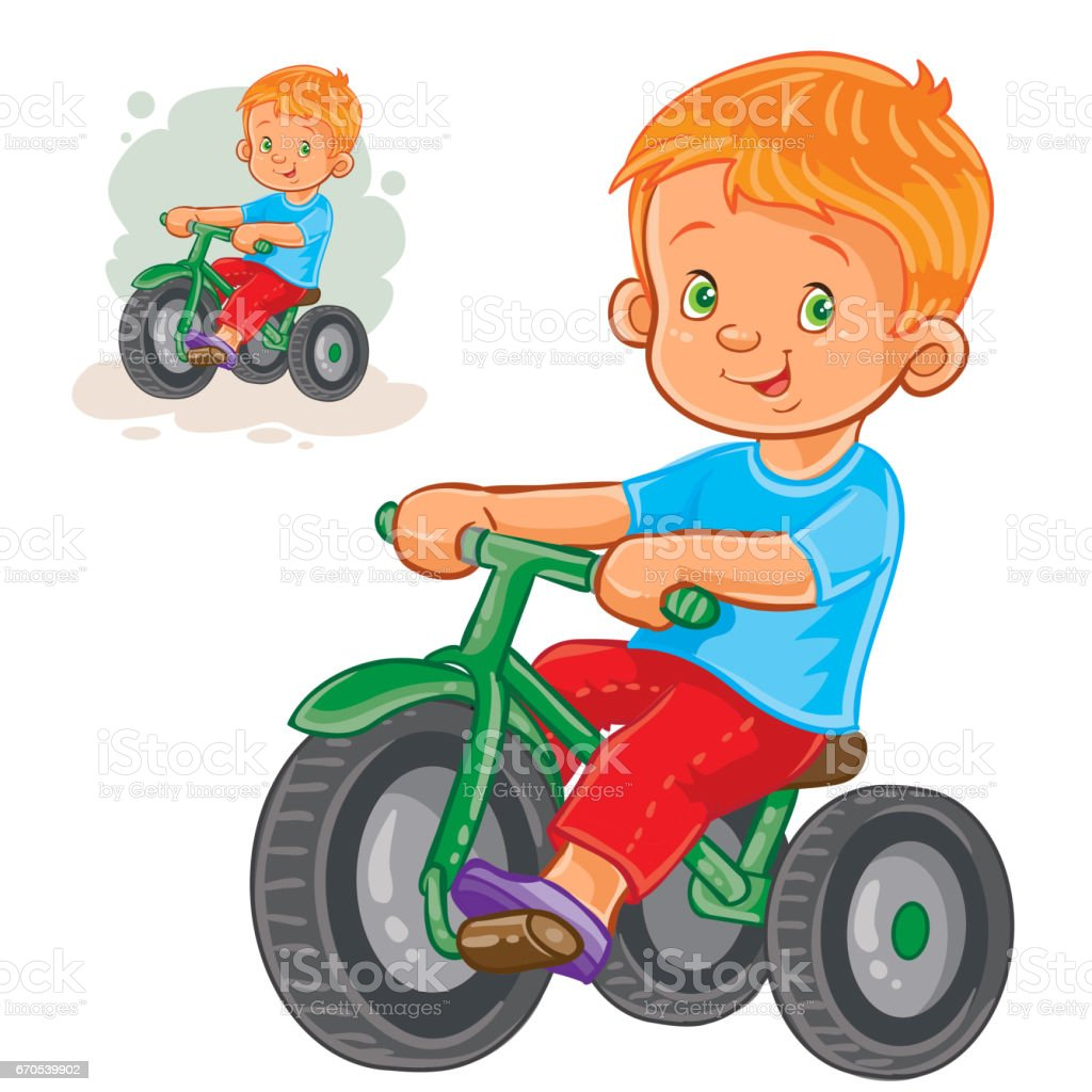 Vector illustration of small boy ride tricycle vector art illustration