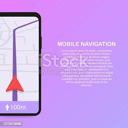 610119450 istock photo Vector illustration of smartphone with mobile navigation app on screen. Route map with symbols showing location of man. Vector illustration. 1073076590