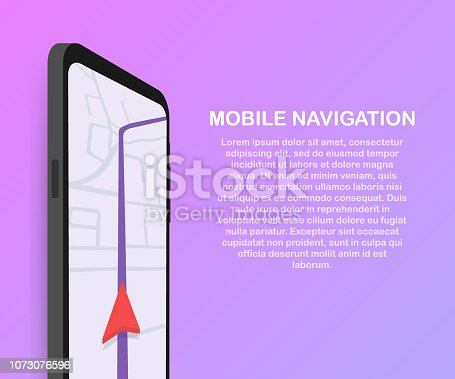 610119450 istock photo Vector illustration of smartphone with mobile navigation app on screen. Route map with symbols showing location of man. Vector illustration. 1073076596
