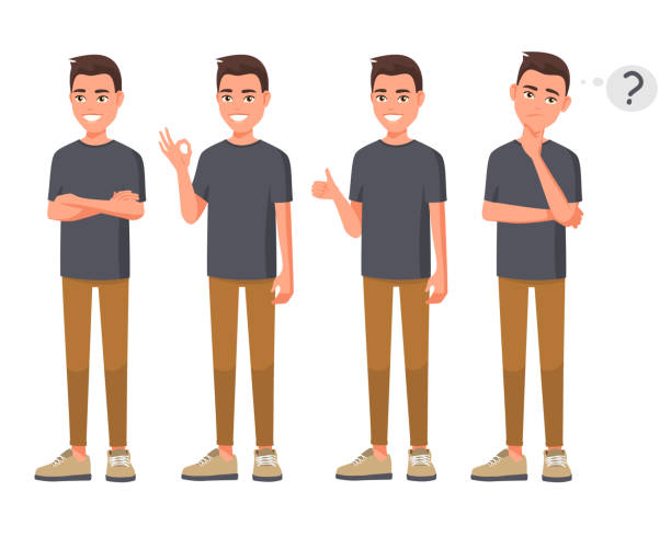 Vector illustration of smiling man in casual clothes in different poses. Cartoon realistic people set. Flat young man. Crossed hands. Hand ok sign. Good hand. Thump up for agreement sign.  Thinks man. vector art illustration
