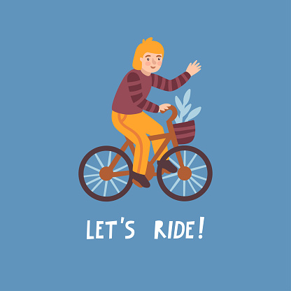 """Vector illustration of smiling man riding bicycle and text """"Let's ride"""". Cute cartoon character on the bike."""