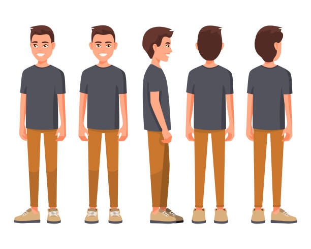 Vector illustration of smiling men in casual clothes under the white background. Cartoon realistic people set. Flat young man. Front view man, Side view man, Back side view man, Isometric view. Vector illustration of smiling men in casual clothes under the white background. Cartoon realistic people set. Flat young man. Front view man, Side view man, Back side view man, Isometric view. teenage boys stock illustrations
