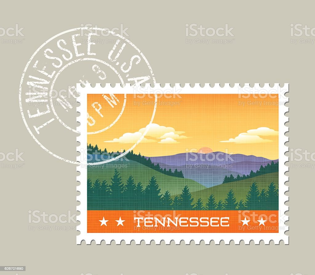 Vector illustration of smoky mountains, Tennessee vector art illustration