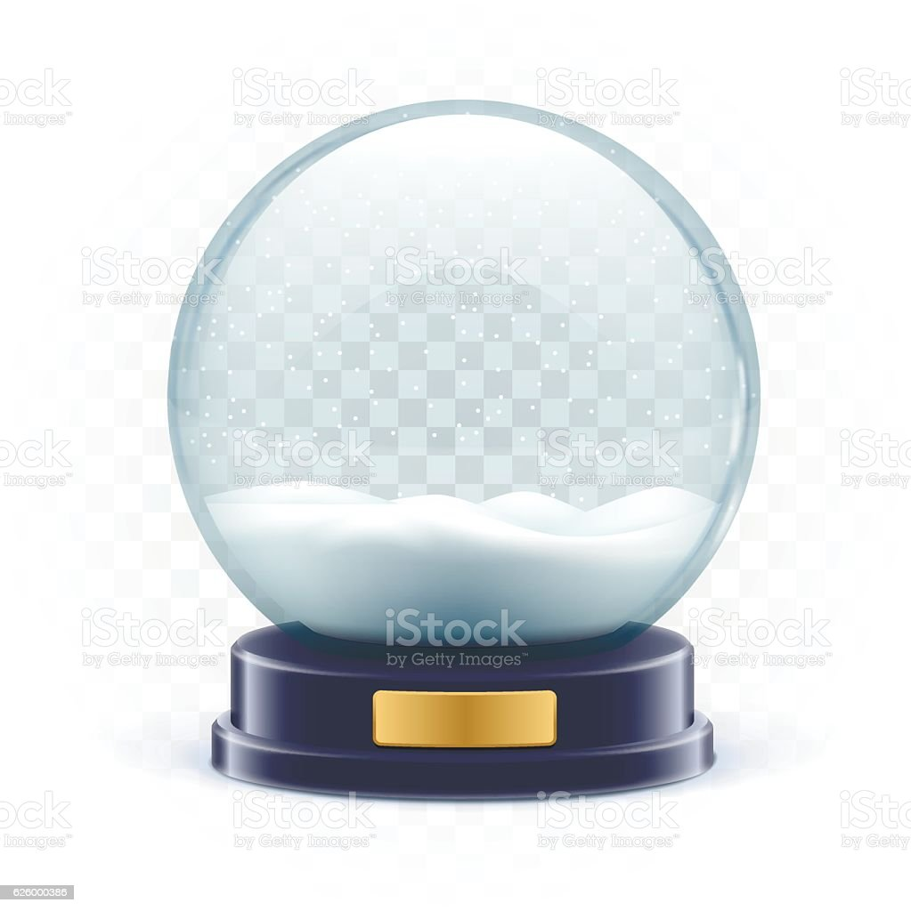 vector illustration of snow globe ball realistic new year chrism vector art illustration