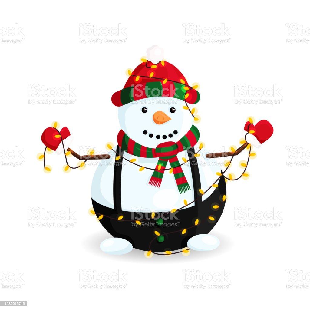 Ilustración de vector de muñeco de nieve en luces, sombrero de rayas y bufanda - ilustración de arte vectorial