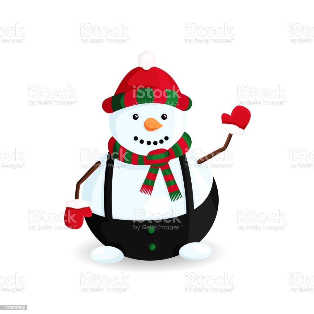 Ilustración de vector de muñeco de nieve sombrero de rayas y bufanda - ilustración de arte vectorial