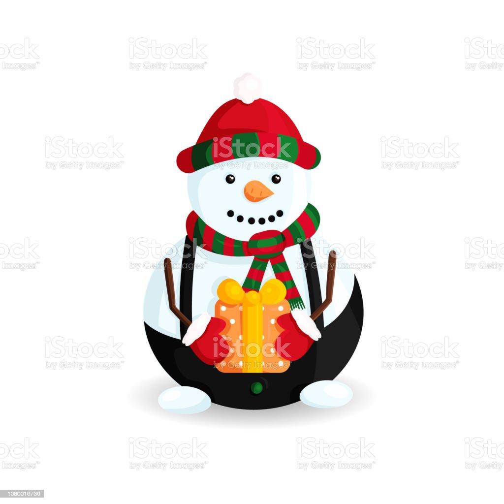 Ilustración de vector de muñeco de nieve sombrero de rayas y bufanda con regalo - ilustración de arte vectorial